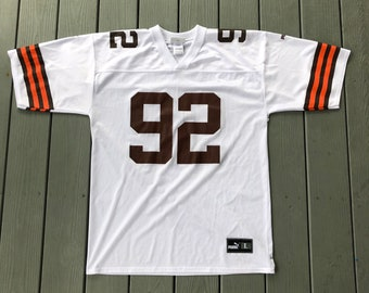 bd4d033ac Vintage Cleveland Browns NFL Puma Replica White Away Jersey--size Large