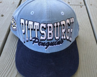 37d1b4f5e Vintage Pittsburgh Penguins NHL Hockey New Era corduroy snapback hat