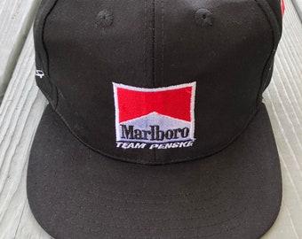 87313fb8e2e16 Vintage 1990s Marlboro Penske Racing NASCAR snapback hat--black