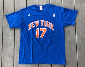 6cff5bd71 Jeremy Lin New York Knicks Bootleg Adidas Jersey t-shirt--blue and orange-- size Large