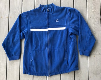 587ea15e35e0 Jordan Brand logo full zip sweatshirt jacket--blue and white--size Large