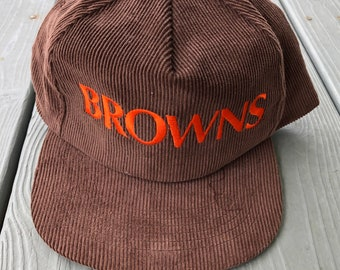reputable site 4be85 25910 Vintage 1980s Cleveland Browns corduroy embroidered snapback hat--brown and  orange