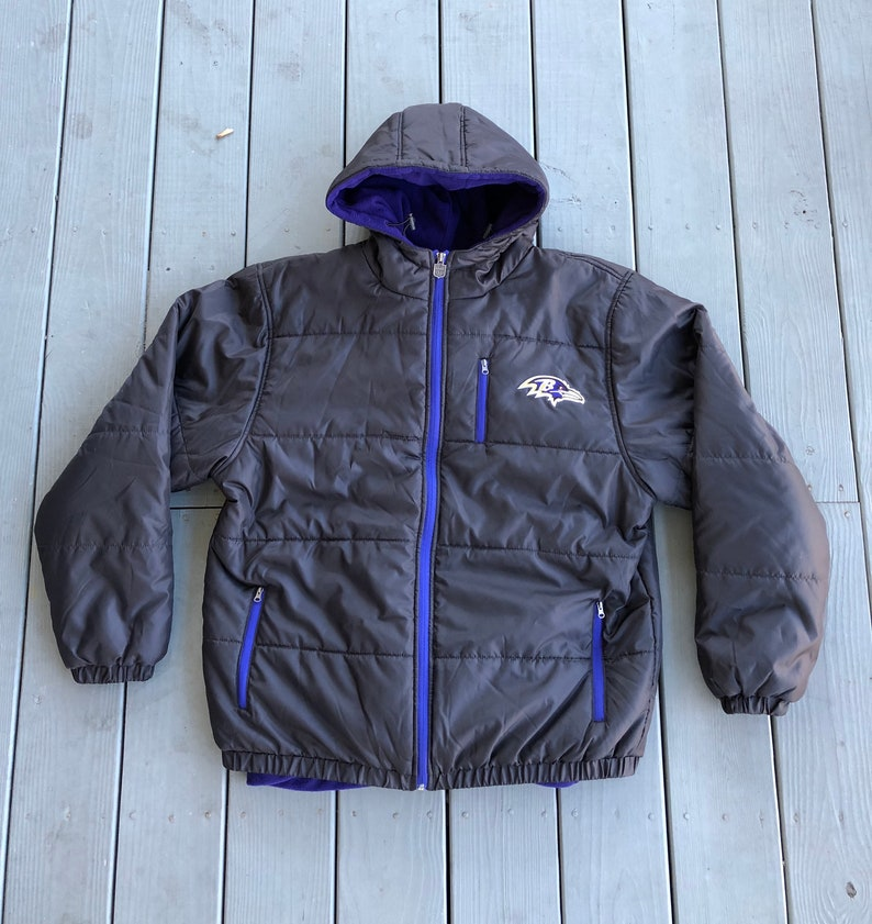 cd37f3fb Baltimore Ravens NFL Pro Line puffer jacket and fleece--hood and full  zip--black and purple--size Large