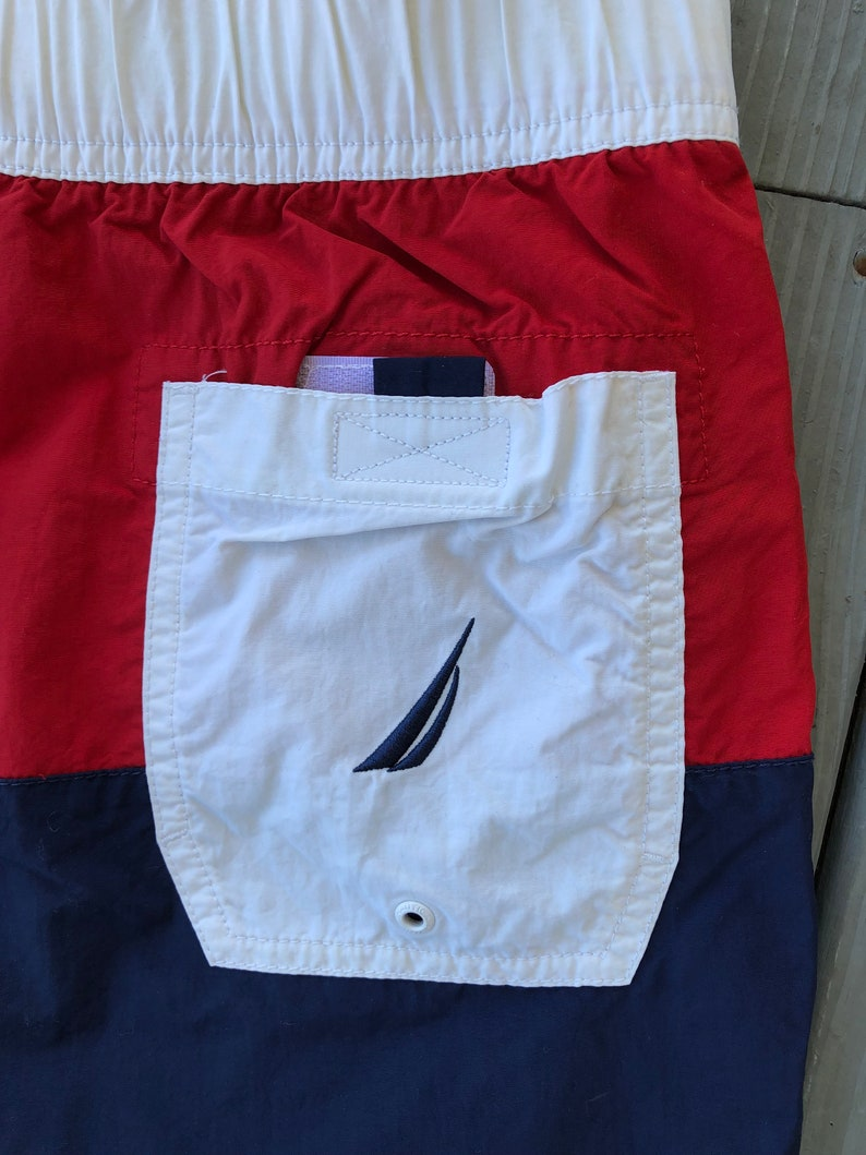 Nautica red white and blue drawstring swim trunks--size Small