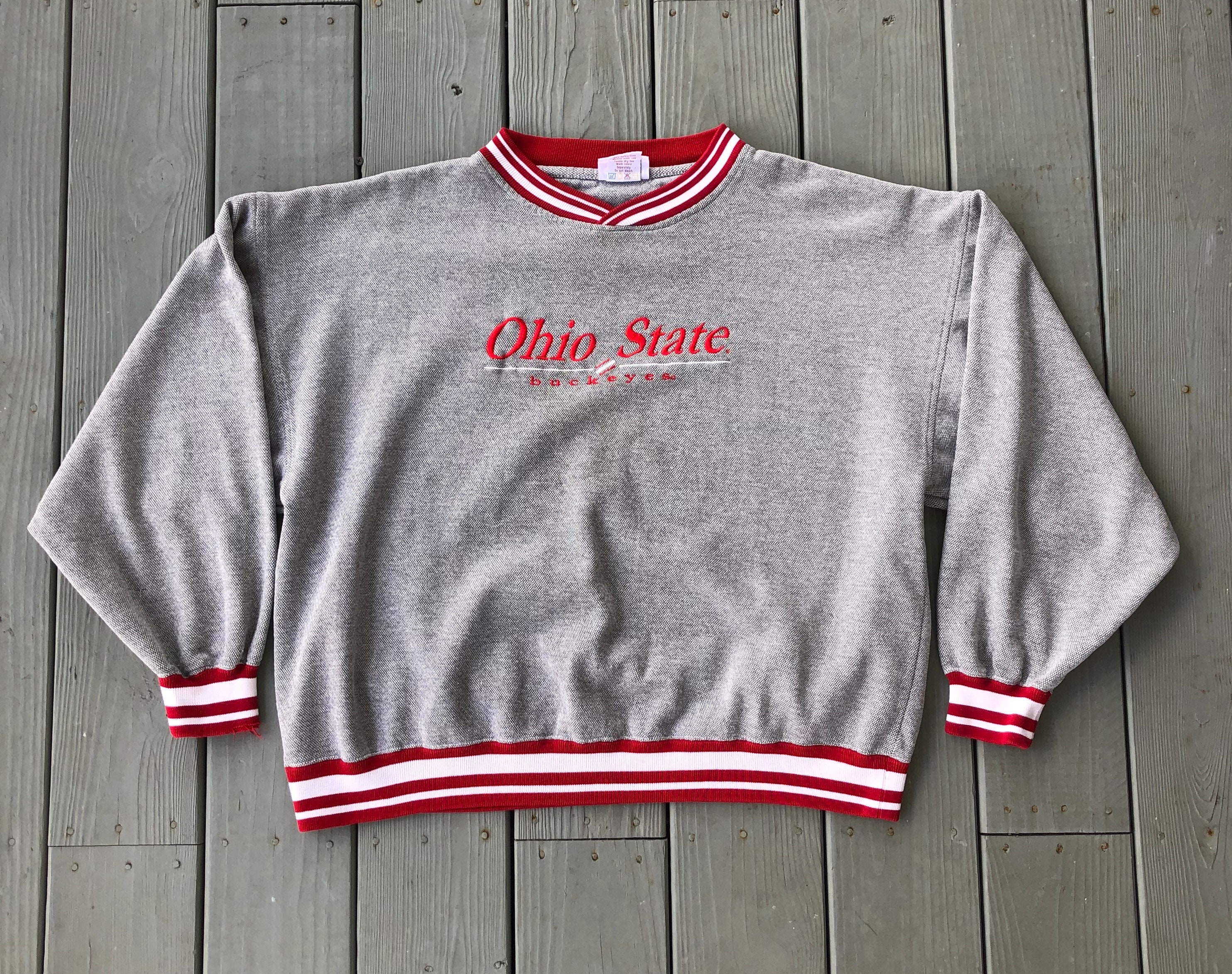 9e74149495f0e Vintage 90s Ohio State University Buckeyes embroidered crewneck  sweatshirt-gray and red-size 2XL