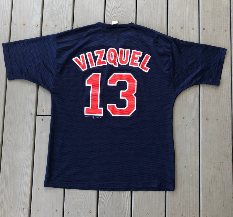 best service 0ceed 41577 Vintage 1990s 1998 Omar Vizquel Cleveland Indians jersey shirt--Made in  USA--navy blue--size mens Large