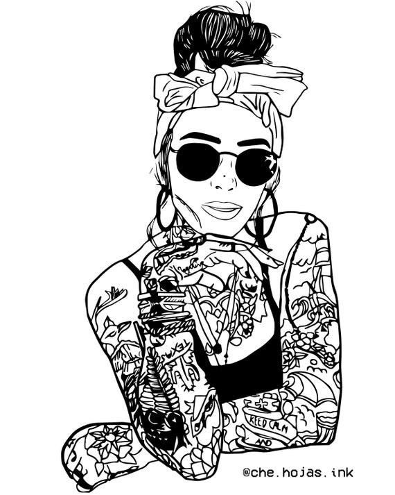 Inked Girl Tumblr Outline Aesthetic Etsy