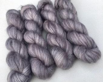 Purple KidSilk Luxury Hand Dyed Kid Mohair Lace Handpainted Kidmohair EU SELLER Lillac Hand Dyed Yarn Soft Fluffy Yarn Lavender