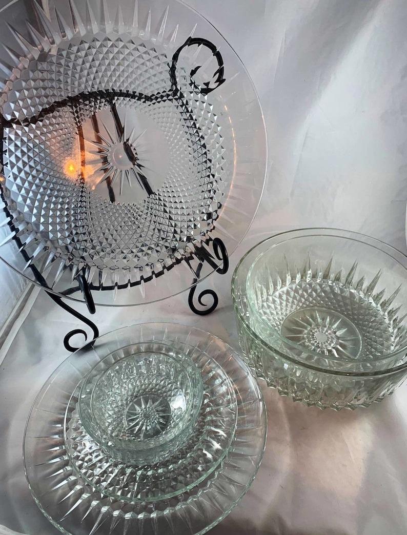 Arcoroc Luminarc Diamont Starburst Pattern Pressed Glass Serving Pieces