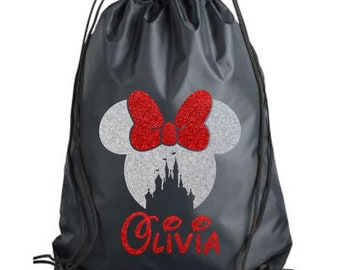 Drawstring Backpack Book Bag Minnie and Mickey Mouse Swim Bag Disney Trick or Treat Bag