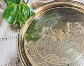 Vintage Decorative Brass Serving Tray w Chinese Oriental Design - Churchill China Blue Willow