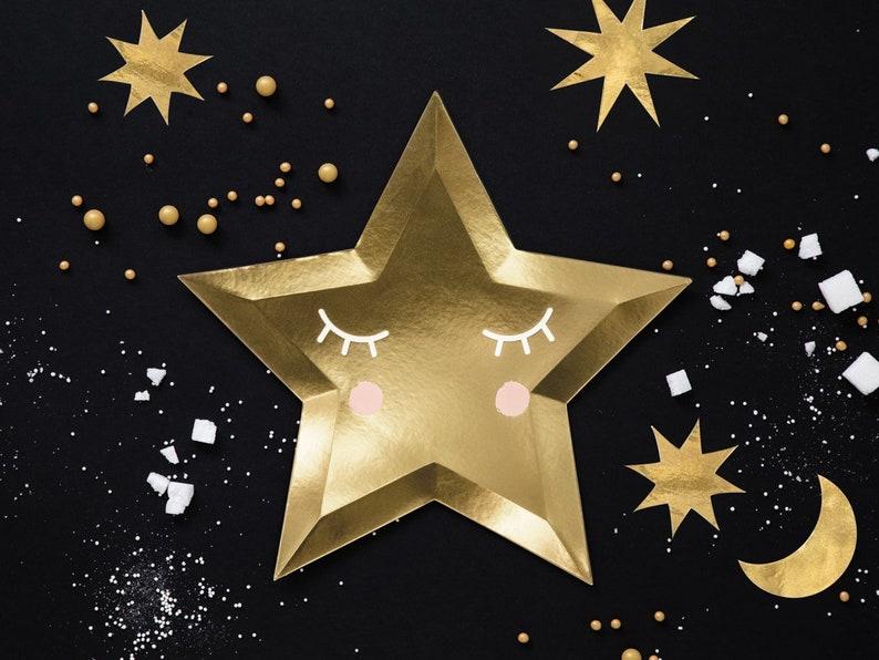 Gold Twinkle Little Star Plates