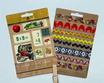Vintage Schoolhouse Cute 4 x 6 Sticker Sheet 21 Stickers School, ruler, chickens, apples, flashcards, ribbon, rick rack