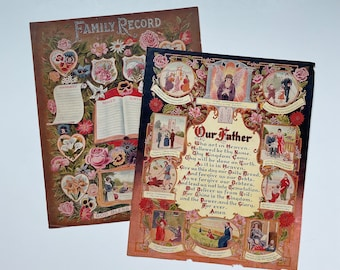 Antique Prints 1925 W.C. Co Inc Tyrone, PA   Family Record, Our Father Lord's Prayer Ten Commandments