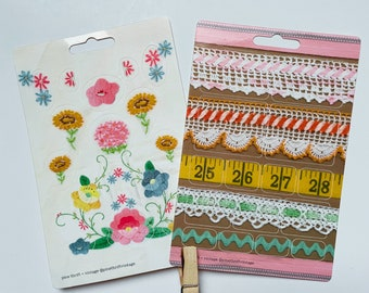 Floral Applique and Embroidery Cute 4 x 6 Sticker Sheet 21 Stickers Flowers, daisy, daisies, applique, rick rack, crocheted lace, sunflowers