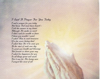photo regarding I Said a Prayer for You Today Printable identified as I claimed a prayer Etsy