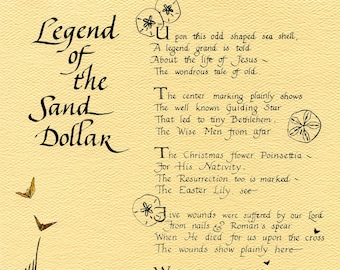 image relating to Legend of the Sand Dollar Poem Printable identify Sand greenback print Etsy