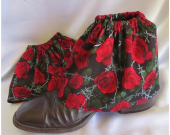 Sock Savers - Boot Covers - Gaiters - Over boots - Handmade in QLD with stunning cotton sateen fabric Barbed Wire Red Roses design