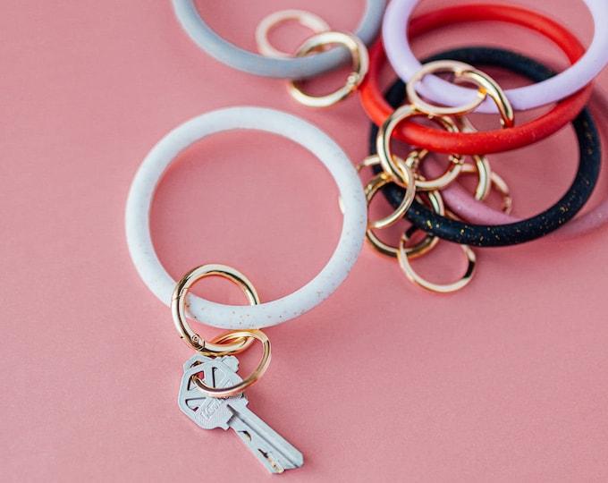 Jelly Key Ring Bangle / Glitter Silicone Key Ring