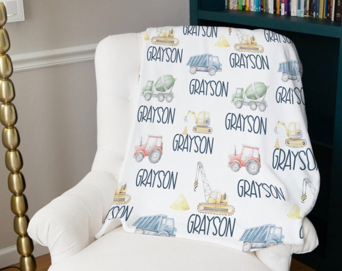Construction Minky Name Blanket for Toddlers and Infants