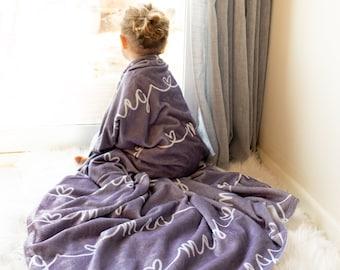 Heart Name Blanket / Baby Girl Heart Minky Blanket