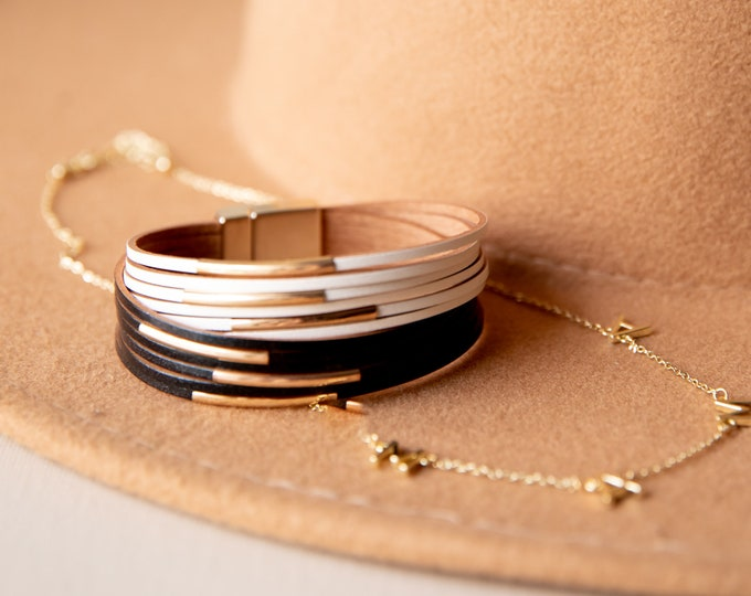 Black and White with Gold Accent Stacked Bracelet