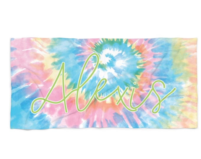 Pastel Tie Dye Personalized Beach Towel with Free Shipping