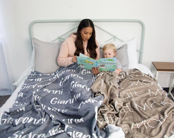 Repeating Name Blanket / Plush Minky Blanket Personalized with Name