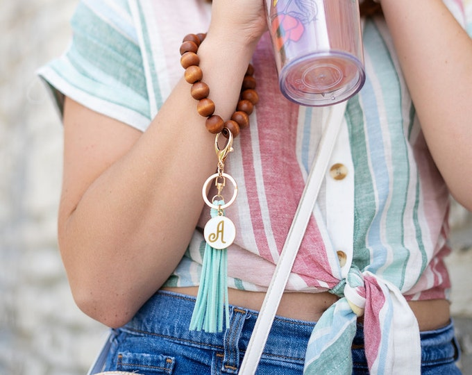 Wooden Beaded Wristlet Keychain