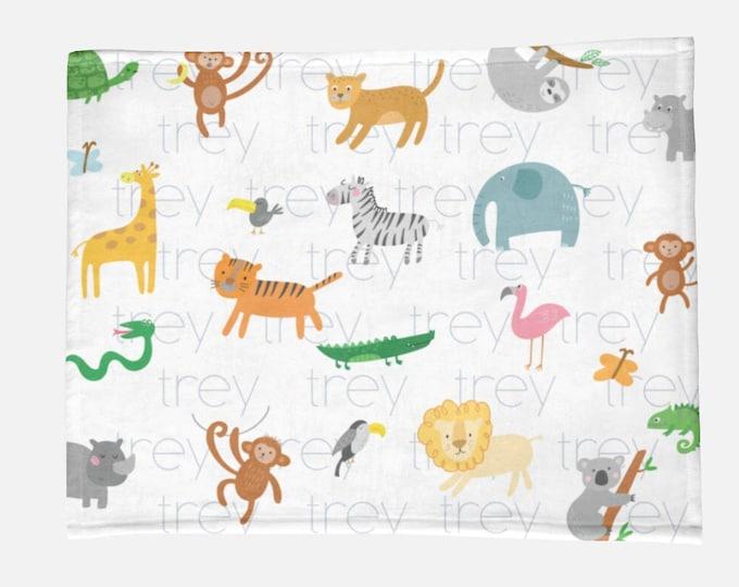 Safari Nursery Infant Blanket / Minky Name Blanket