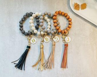 Leopard Wooden Bead Bracelet Keychain / Wristlet Keychain