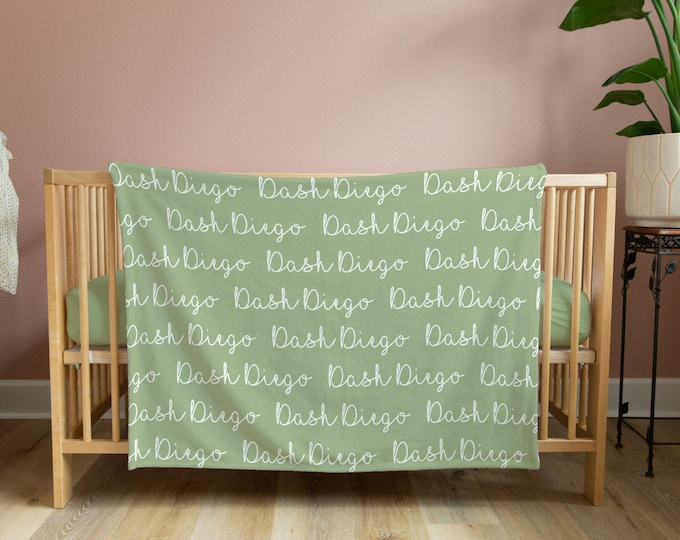 Baby Minky Blanket / Cursive Name Infant Blanket