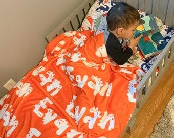 Dinosaur Name Blanket / Baby Minky Blanket Dinosaur Nursery