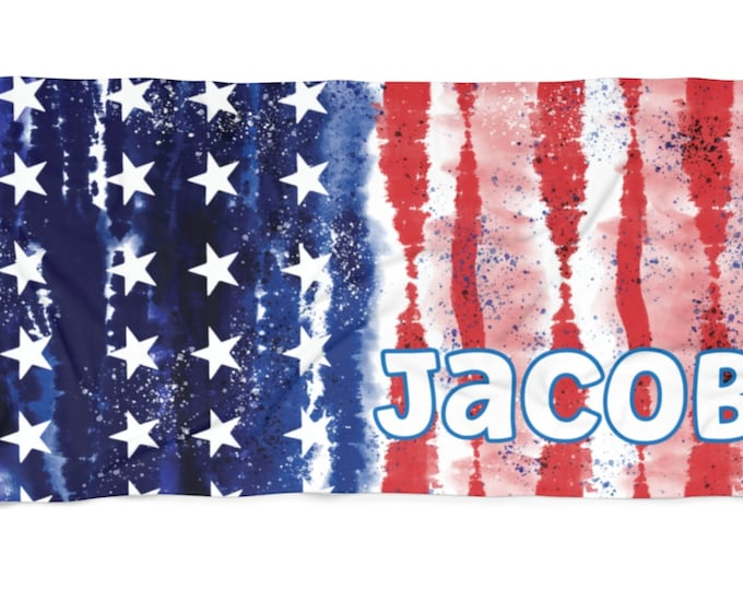 USA Flag Personalized Beach Towel with Free Shipping