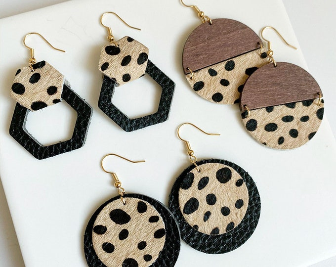 Leopard Leather Dangle Earrings