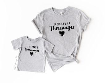 Threenager / Mommy and Me Set / Threenager Birthday