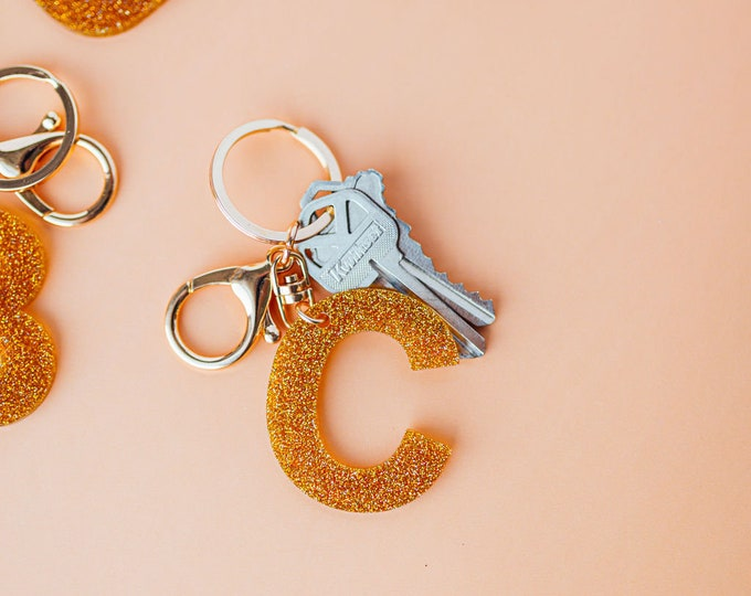 Gold Glitter Resin Letter Keychain and Bag Charm