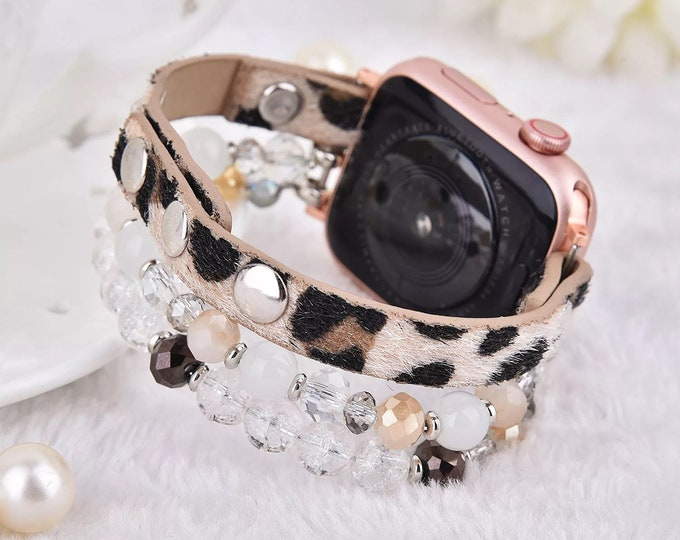 Leopard Calf Leather and Crystal Smart Watch Band