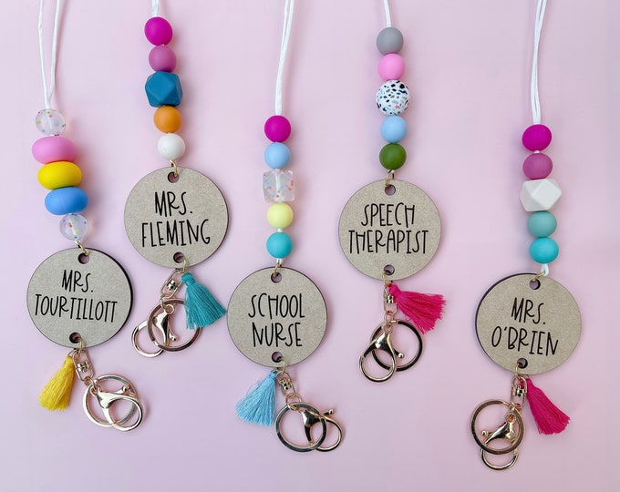 Colorful Teacher Lanyard Personalized / Silicone Bead Lanyard for School