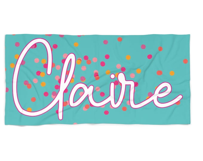 Confetti Personalized Beach Towel with Free Shipping