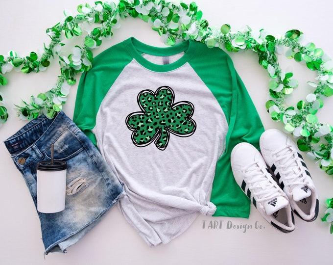 Leopard Clover Tee / St Patricks T Shirt / 3/4 Length