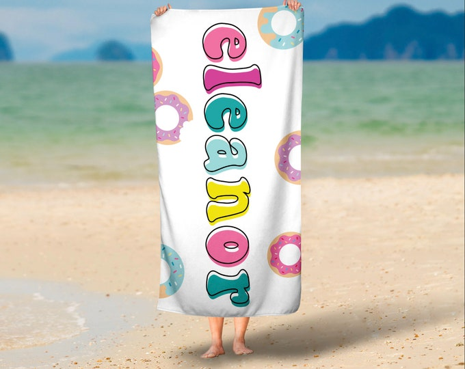 Donut Personalized Beach Towel with Free Shipping