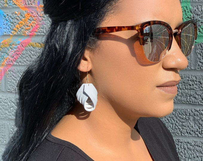 Leather Twist Boho Drop Earrings