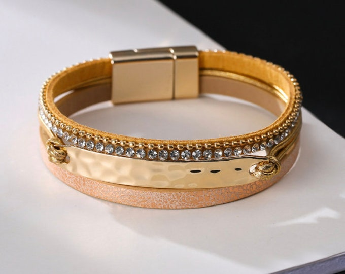 Mixed Gold Stacked Bracelet