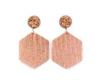 Druzy Stud & Rose Gold Leather Earring
