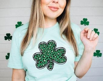 Leopard Clover Tee / St Patricks T Shirt