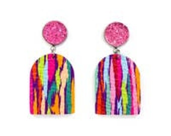 Druzy Stud & Multi Color Leather Earring