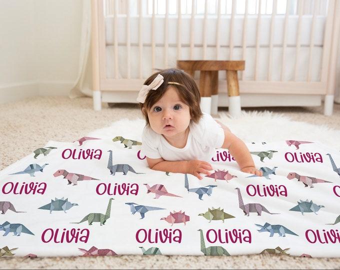 Origami Dinosaur Infant Blanket / Minky Name Blanket