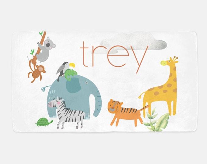 Safari Nursery Crib Sheet / Personalized Name Crib Sheet