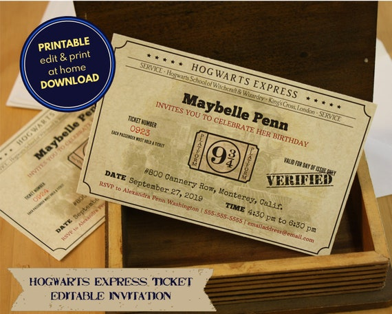 image about Hogwarts Express Ticket Printable known as Hogwarts Categorical ticket - printable, editable invitation - obtain, customise print at house